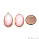 Agate Slice 28x16mmOrganicGold Electroplated Gemstone Earring Connector 1 Pair