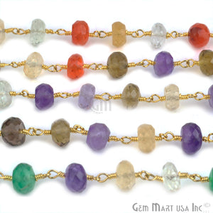 Multi Stone 7-8mm Beads Gold Plated Wire Wrapped Rosary Chain - GemMartUSA