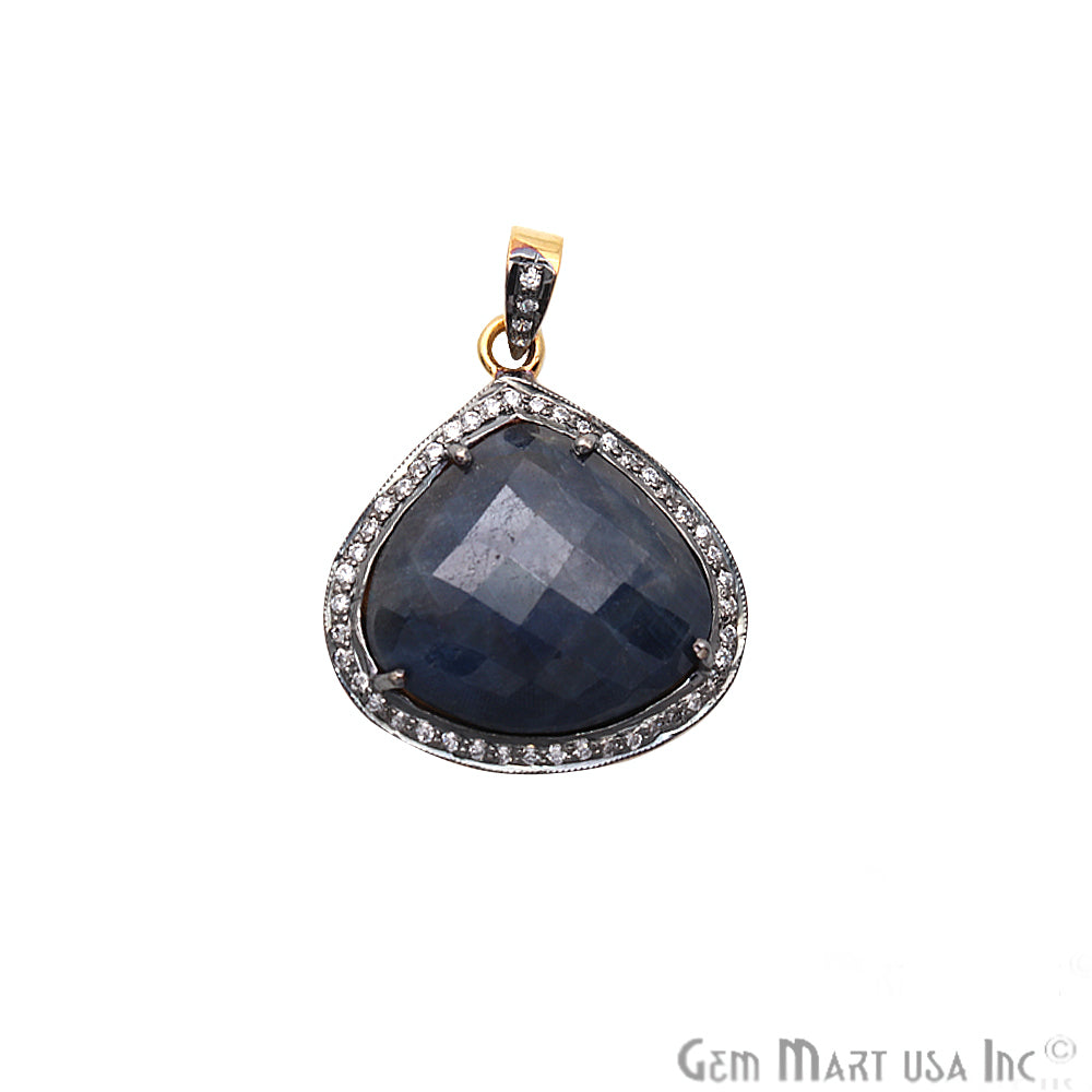 Blue Sapphire With Cubic Zircon Pears 28x25mm Gold Vermeil Necklace Pendant