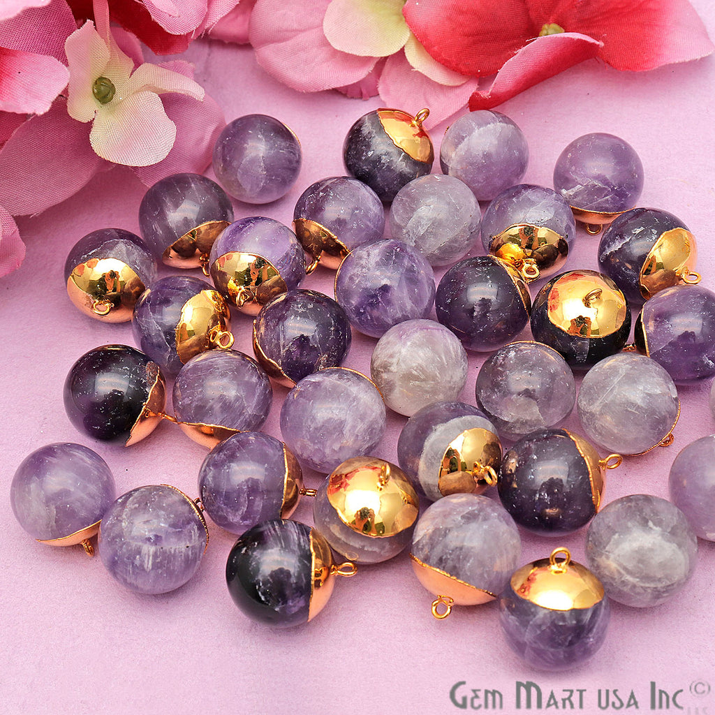 Gemstone Ball 17x20mm Gold Electroplated Single Bail Charm Ball Connector
