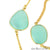 Aqua Chalcedony 15mm Gold Plated Bezel Link Connector Chain - GemMartUSA