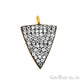 Arrow Head Cubic Zircon Pave Gold Vermeil Charm For Bracelet & Pendants