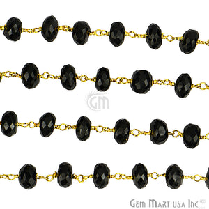 Black Spinel 6-7mm Gold Plated Wire Wrapped Beads Rosary Chain - GemMartUSA