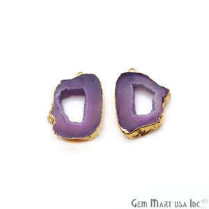 Agate Slice 33x23mm Organic Gold Electroplated Gemstone Earring Connector 1 Pair - GemMartUSA