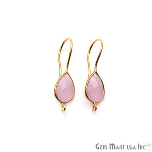 Pear Shape 31x9mm Gemstone Connector Hook Earrings (Pick your Gemstone) - GemMartUSA