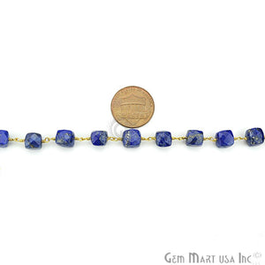 Lapis Lazuli Gold Plated Wire Wrapped Gemstone Beads Rosary Chain