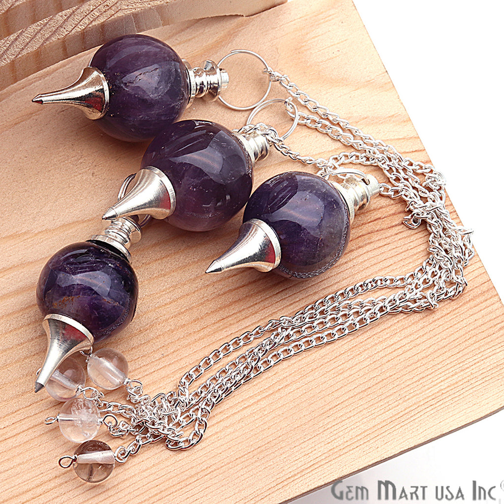 Healing Amethyst Sphere Radiesthesia Pendulam with Silver Plated Chain Ball (Pick Your Gemstone)
