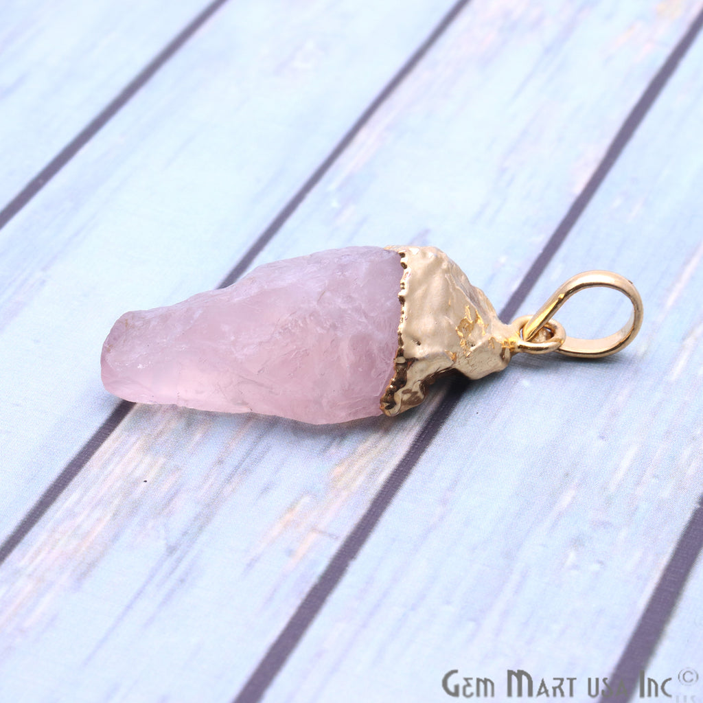 Rough Rose Quartz 40x18mm Gold Electroplated Single Bail Pendant