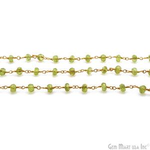 Peridot 4-5mm Faceted Round Gemstone Rondelle Beads Rosary Chain