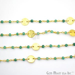 Emerald Faceted 3-3.5mm Gold Plated Wire Wrapped Beads Rosary Chain