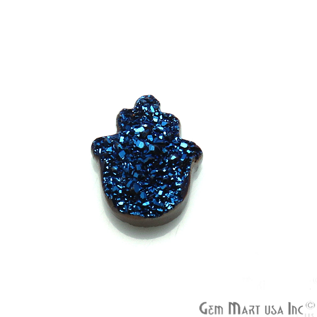 Blue Druzy 14x10mm Hamsa Shape Loose Beads Cabochon
