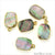 Abalone 12x16mm Octagon Shape Gold Electroplated Single Bail Gemstone Connector - GemMartUSA