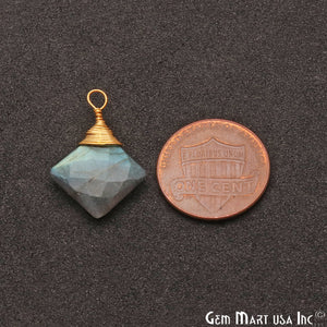 Labradorite Square 12mm Gold Plated Wire Wrapped Gemstone Connector - GemMartUSA