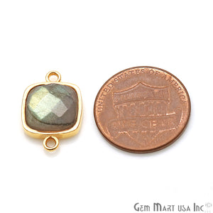 Labradorite Cushion Shape 18x12mm Gold Plated Double Bail Connector - GemMartUSA