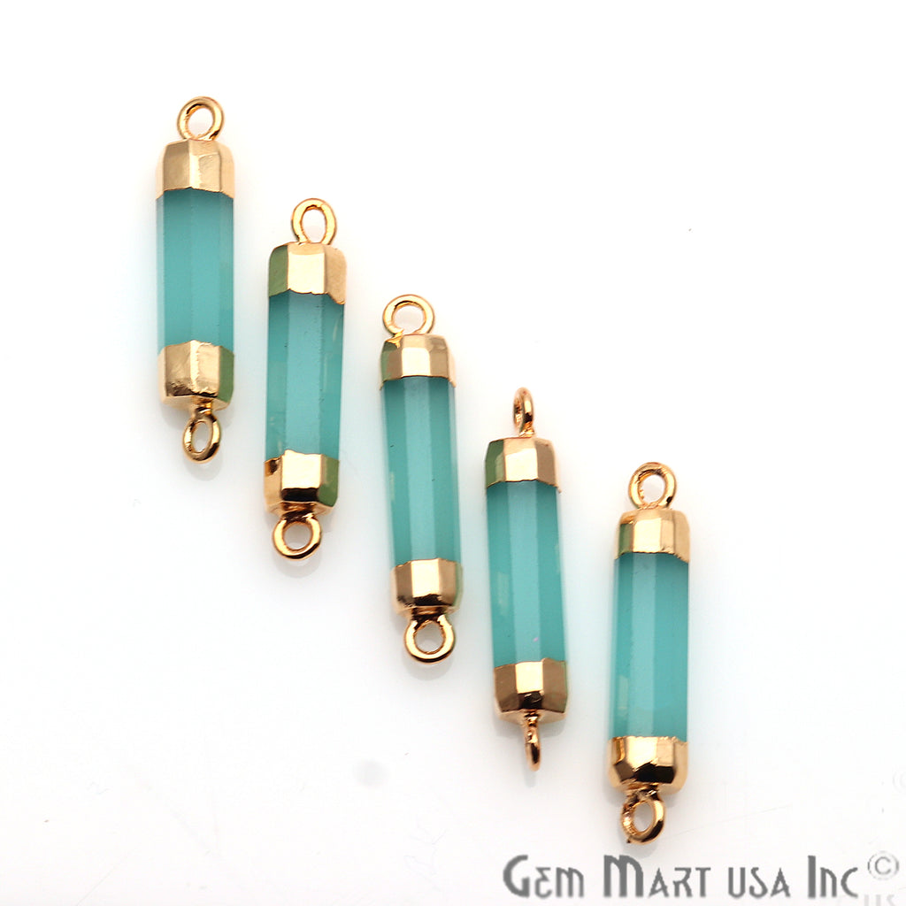 Double Point Gold Electroplated Gemstone Pendant Connector (Pick Your Gemstone)
