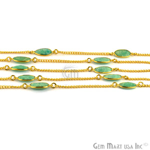 Chrysoprase 10mm Gold Plated Bezel Link Connector Chain - GemMartUSA