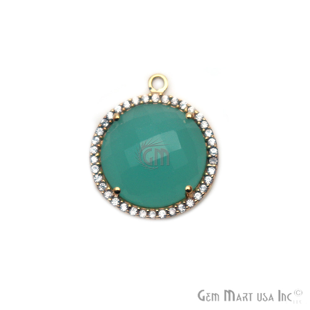 Aqua Chalcedony With Cubic Zircon Pave 16mm Round Single Bail Gemstone Connector