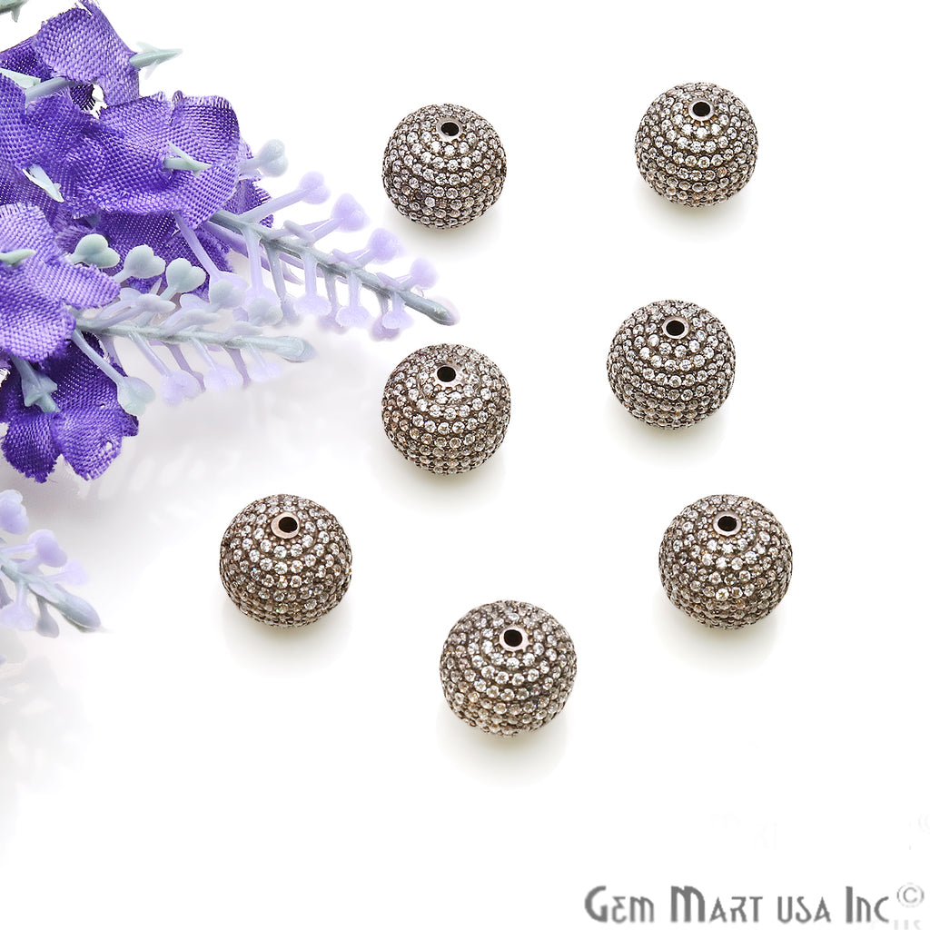 Cubic Zircon Round Beads Ball Silver Charm For Bracelet Pendants & Necklace