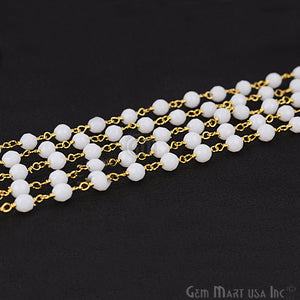 White Agate Beads Gold Plated Wire Wrapped Rosary Chain - GemMartUSA