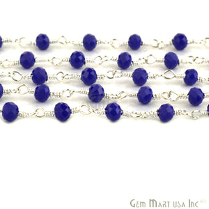 Dark Blue Chalcedony Silver Plated Wire Wrapped Beads Rosary Chain
