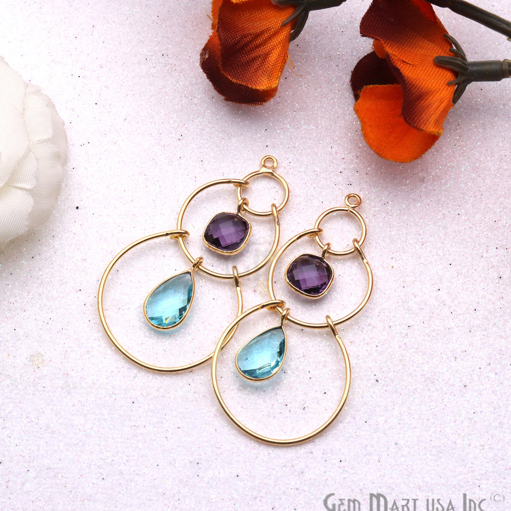 DIY Gemstone Gold Plated Dangle Chandelier Finding Connector 1PC (Pick Your Gemstone)