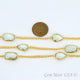 Green Amethyst 10-15mm Gold Plated Link Bezel Connector Chain
