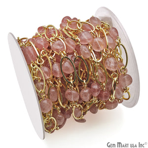 Strawberry Quartz With Gold Plated Oval Finding Rosary Chain - GemMartUSA