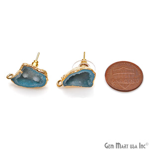 DIY Agate Slice Geode Druzy 15x22mm Gold Electroplated Loop Connector Studs Earrings - GemMartUSA