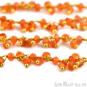 Carnelian Round Faceted Gold Wire Wrapped Cluster Dangle Rosary Chain - GemMartUSA