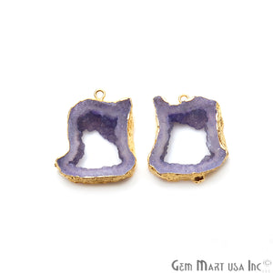 Agate Slice 23x27mm Organic Gold Electroplated Gemstone Earring Connector 1 Pair - GemMartUSA