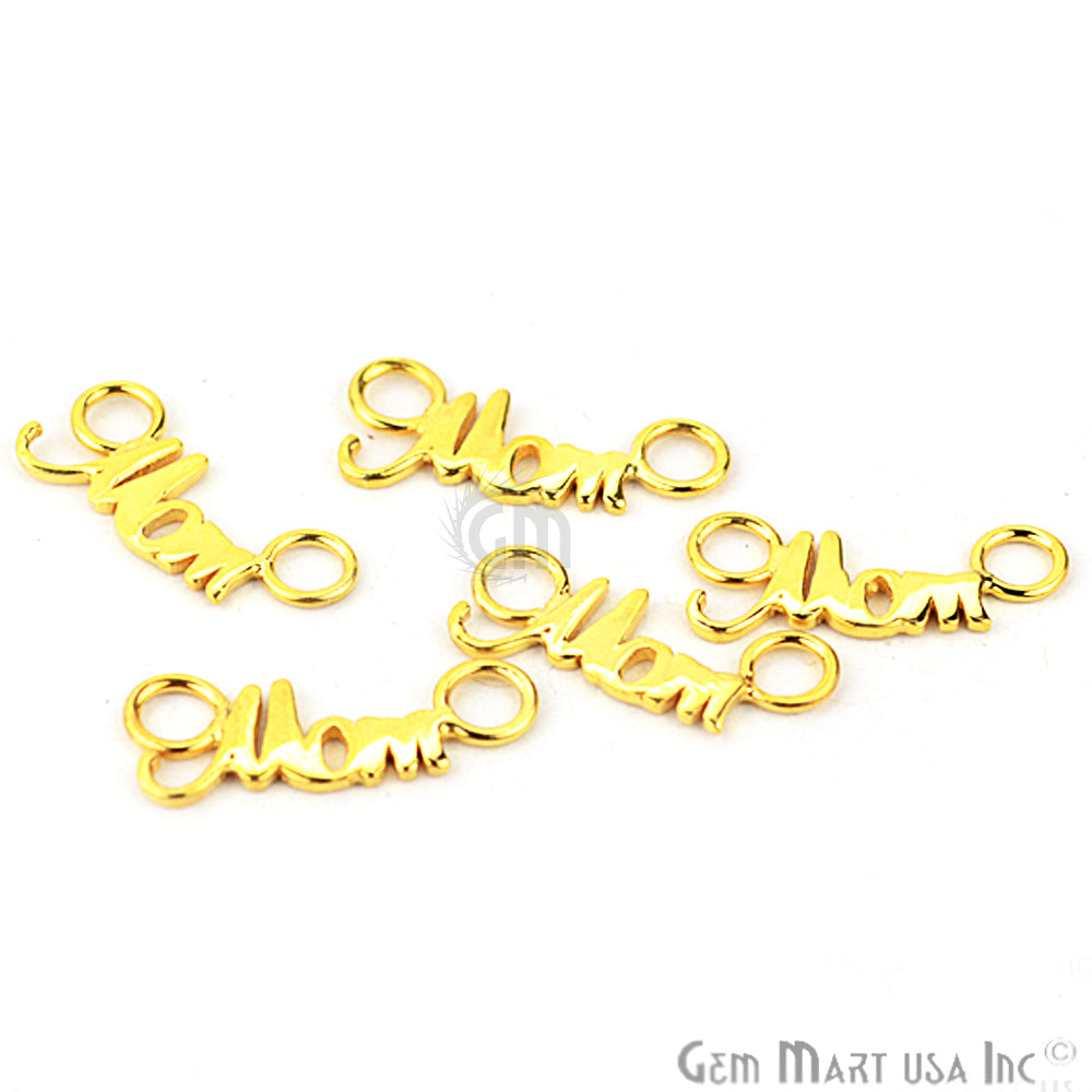 MOM Letter Gold Vermeil Charm for Bracelet Pendants & Necklace