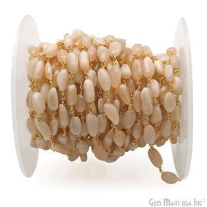 Peach Moonstone 12x5mm Tumble Beads Gold Plated Rosary Chain