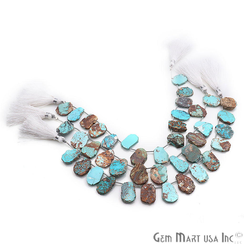 Natural Arizona Turquoise Gemstone 23x19mm Beaded Handmade Silver Wire Rondelle