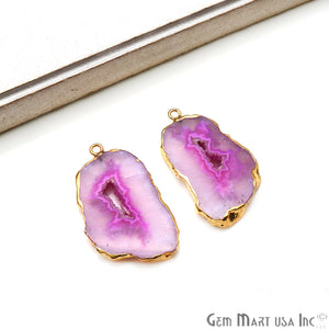 Agate Slice 23x39mm Organic  Gold Electroplated Gemstone Earring Connector 1 Pair