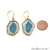 Agate Slice 30x22mm Organic  Gold Electroplated Gemstone Earring Connector 1 Pair