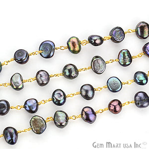 Black Pearl Gold Plated Wire Wrapped Beads Rosary Chain - GemMartUSA