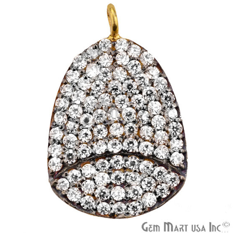 Cubic Zircon Pave 'Fancy Cap' Gold Vermeil Charm for Bracelet Pendants & Necklace