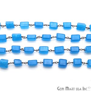Blue Chalcedony Gemstone Oxidized Rondelle Cut Beads Rosary Chain