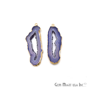 Agate Slice 59x17mm Organic  Gold Electroplated Gemstone Earring Connector 1 Pair - GemMartUSA