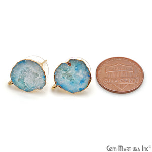 DIY Agate Slice Geode Druzy 17x13mm Gold Electroplated Loop Connector Studs Earrings - GemMartUSA