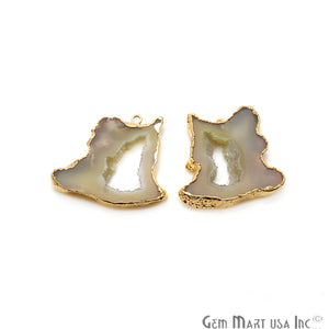 Agate Slice 31x34mm Organic Gold Electroplated Gemstone Earring Connector 1 Pair - GemMartUSA