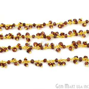 Garnet Faceted Beads Cluster Dangle Beads Gold Wire Wrapped Rosary Chain - GemMartUSA