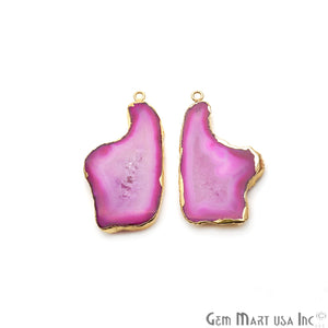 Agate Slice 45x23mm Organic Gold Electroplated Gemstone Earring Connector 1 Pair - GemMartUSA