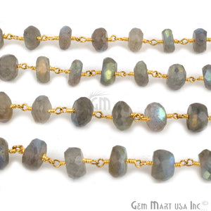 Labradorite 7-8mm Beads Chain, Gold Plated Wire Wrapped Rosary Chain