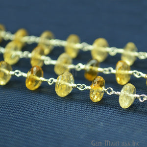 Champagne 7-8mm Gold Plated Wire Wrapped Rosary Chain - GemMartUSA
