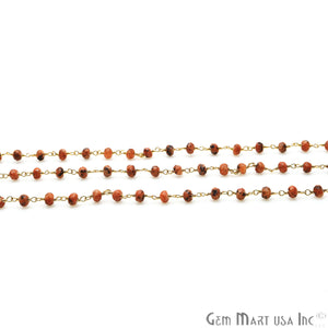 Fire Opal Jade Faceted Beads 4mm Gold Plated Wire Wrapped Rosary Chain - GemMartUSA