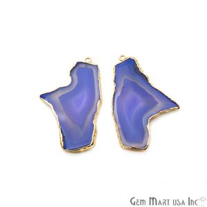 Agate Slice 48x32mm Organic Gold Electroplated Gemstone Earring Connector 1 Pair - GemMartUSA