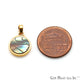 Abalone Shell Round Shaped Gold Plated Pendant 15X12MM - GemMartUSA