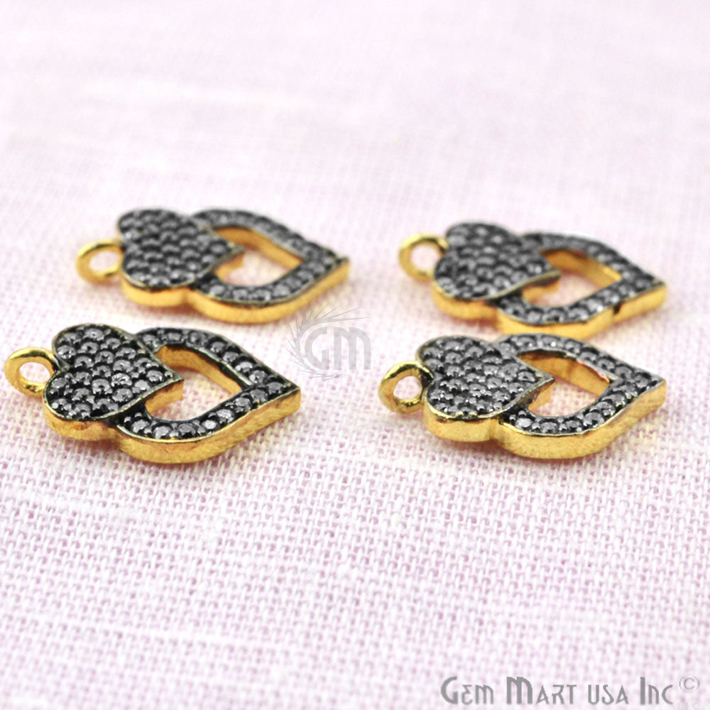 Cubic Zircon Pave 'Heart' Shape Gold Vermeil Charm for Bracelet Pendants & Necklace