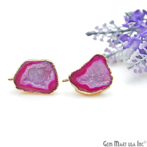DIY Agate Slice Geode Druzy 17x25mm Gold Electroplated Loop Connector Studs Earrings - GemMartUSA